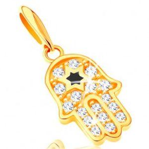 Přívěsek ze žlutého 14K zlata - symbol Hamsa s čirými zirkony a černou hvězdou GG121.09