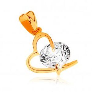 Přívěsek ze žlutého 9K zlata - kontura asymetrického srdce, velký čirý zirkon GG59.11