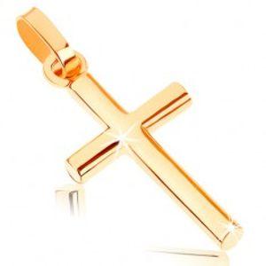 Přívěsek ze žlutého 9K zlata - malý latinský křížek, hladký lesklý povrch GG58.14