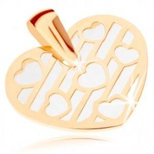 Přívěsek ze žlutého 9K zlata - srdce zdobené výřezy, podklad z perleti GG82.03