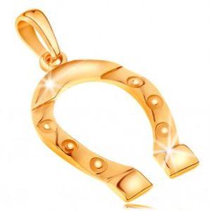 Přívěsek ze žlutého zlata 585, symbol štěstí - podkůvka, gravírovaná kolečka GG195.09