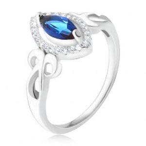 Prsten - modrý zrníčkovitý zirkon, čirý lem, zakroucené proužky, stříbro 925 U4.12