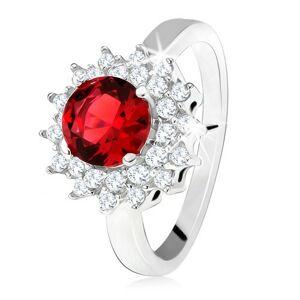 Prsten s červeným kulatým kamenem a čirými zirkonky, sluníčko, stříbro 925 - Velikost: 55