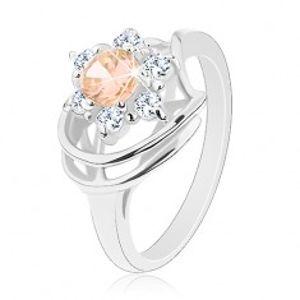 Prsten s lesklými rameny, zirkonový květ v čiré a světle oranžové barvě G03.22