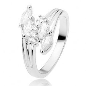Prsten s rozvětvenými rameny, blýskavé zirkony čiré barvy R41.8