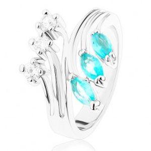Prsten s rozvětvenými rameny, zirkony čiré a akvamarínové barvy R39.2