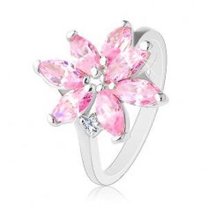 Prsten s úzkymi rameny, zářivý zirkonový květ růžové barvy, čirý zirkonek R32.10