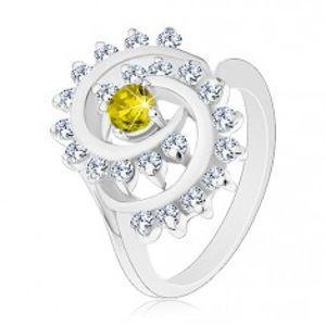 Prsten ve stříbrném odstínu, zelenožlutý kulatý zirkon v blýskavé spirále G16.26