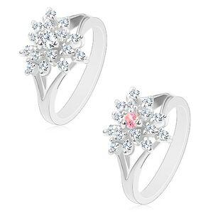 Prsten stříbrné barvy, čirý zirkonový kvítek s barevným středem - Velikost: 54, Barva: Růžová