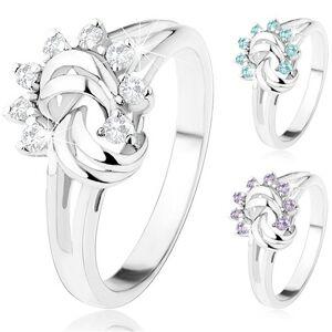 Prsten stříbrné barvy, rozdělená ramena, zirkonové slunce, obloučky - Velikost: 58, Barva: Modrá světlá