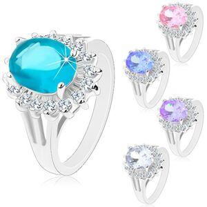 Prsten stříbrné barvy, velký zirkonový ovál, obruba z čirých zirkonků - Velikost: 49, Barva: Růžová