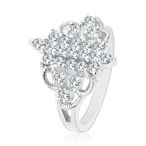 Prsten stříbrné barvy, vertikální zirkonové proužky, zaoblené gravírované linie - Velikost: 52, Barva: Čirá