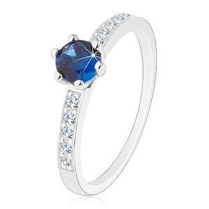 Prsten - stříbro 925, kulatý zirkon v tmavě modrém odstínu, transparentní linie - Velikost: 55