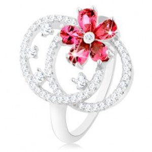 Prsten, stříbro 925, čiré zirkonové kontury dvou oválů, růžový kvítek HH15.5