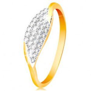 Prsten ve 14K zlatě - velké zrnko se vsazenými zirkonky čiré barvy GG201.88/94