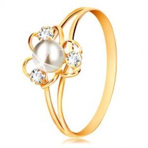 Prsten v 9K žlutém zlatě - květ se třemi okvětními lístky, bílou perlou a čirými zirkony GG52.40/41