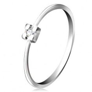 Prsten v bílém 14K zlatě - diamant čiré barvy v hranatém kotlíku BT502.64/70