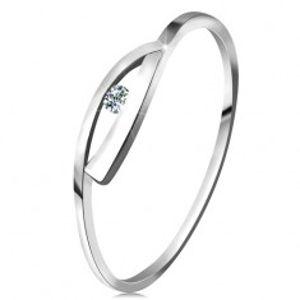 Prsten v bílém zlatě 585 s třpytivým diamantem, lesklá zvlněná ramena BT161.01/160.45/51