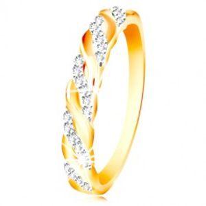 Prsten v kombinovaném zlatě 585 - zirkonové a hladké vlnky GG214.66/73