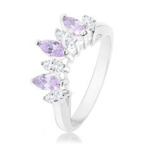 Prsten ve stříbrné barvě, čirá a světle fialová zirkonová zrnka R34.7