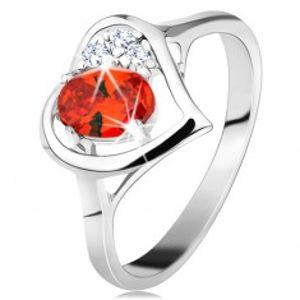 Prsten ve stříbrné barvě, kontura srdce s oranžovým oválem a čirými zirkony G08.13