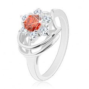Prsten ve stříbrném odstínu, kulatý tmavě oranžový zirkon, čiré zirkonky G02.06