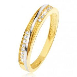 Prsten ve žlutém 14K zlatě - ozdobné trojúhelníkové zářezy, zirkony GG11.54