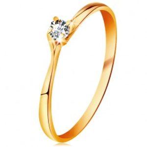 Prsten ve žlutém 14K zlatě - třpytivý čirý briliant v lesklém vyvýšeném kotlíku BT179.80/88