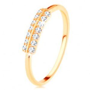 Prsten ve žlutém 14K zlatě - vodorovné zirkonové linie oddělené lesklým proužkem GG126.08/126.45/126.50