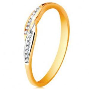 Prsten ve 14K zlatě, rozšířené dvoubarevné konce ramen se vsazenými zirkony GG189.58/64