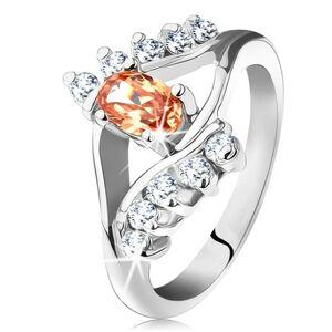 Prsten ve stříbrné barvě s rozdělenými rameny, oranžový ovál, čiré linie zirkonů - Velikost: 57