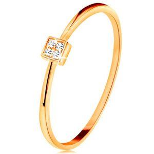 Prsten ve žlutém zlatě 585 - čtvereček vykládaný kulatými zirkony čiré barvy - Velikost: 54
