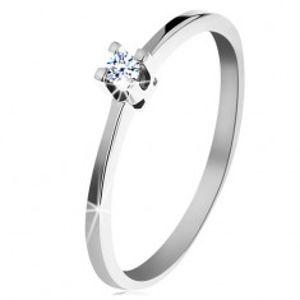 Prsten z bílého 14K zlata - tenká lesklá ramena, blýskavý čirý diamant BT153.33/38
