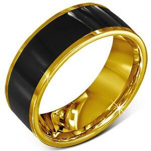 Prsten z chirurgické oceli - hladký černý kroužek, zlatý lem - Velikost: 59