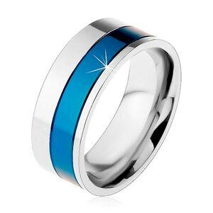 Prsten z chirurgické oceli, pásy modré a stříbrné barvy, 8 mm - Velikost: 62