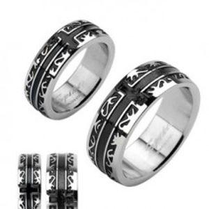 Prsten z chirurgické oceli - černý rytý ornament, kříž H13.1/3