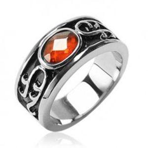 Prsten z chirurgické oceli - oranžový kamínek a ornamenty H10.3