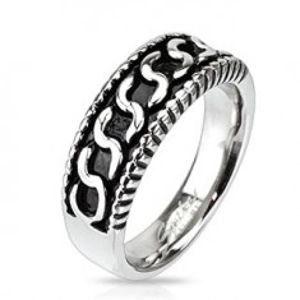 """Prsten z chirurgické oceli - vzor ve tvaru písmene """"S"""", patina B5.01"""