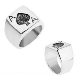 Prsten z oceli 316L stříbrné barvy, patinované pikové eso SP53.12