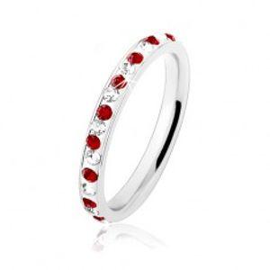 Prsten z oceli 316L ve stříbrné barvě, tmavě červené a čiré zirkonky HH16.15