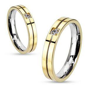 Prsten z oceli - zlato-stříbrná kombinace se zirkonem - Velikost: 59