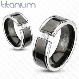 Prsten z titanu - černý pás, zirkon - Velikost: 63
