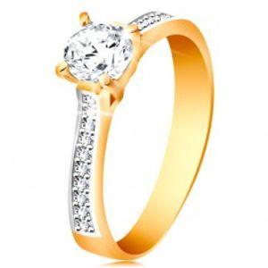 Prsten ze 14K zlata - blýskavý kulatý zirkon čiré barvy, zirkonová ramena GG193.08/14