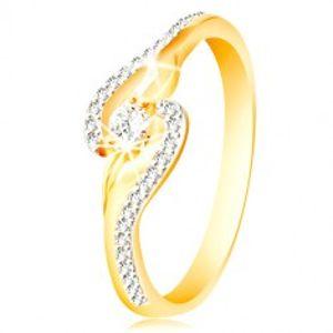 Prsten ze 14K zlata - zahnuté konce ramen, úzké zirkonové linie a větší zirkon GG213.48/54