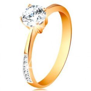 Prsten ze 14K zlata - zúžená ramena se zirkonovými liniemi, čirý zirkon v kotlíku GG192.90/96