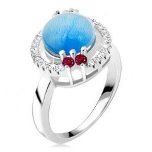 Prsten ze stříbra 925 - zirkonová obroučka, akvamarínový kamínek BB16.16