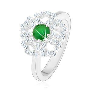 Prsten ze stříbra 925, blýskavý kvítek, čiré obrysy lupínků, zelený střed - Velikost: 53
