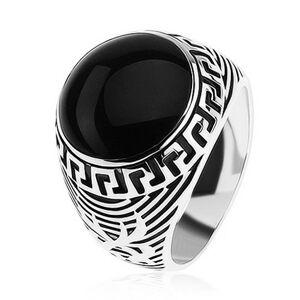 Prsten ze stříbra 925, černý glazovaný kruh, ornament řeckého klíče - Velikost: 63
