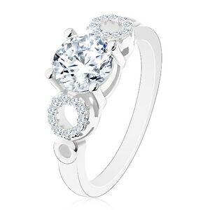 Prsten ze stříbra 925, kulatý čirý zirkon, blýskavé obrysy kruhů - Velikost: 52