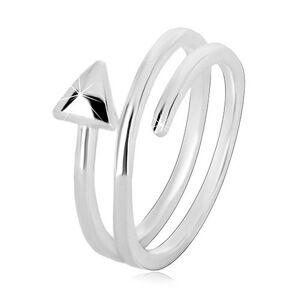 Prsten ze stříbra 925 - úzká spirálovitě zatočená šipka, lesklý povrch - Velikost: 58